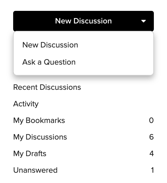 Screenshot showing the options for creating a new post, as well as the additional hyperlinks to sections of the forum.