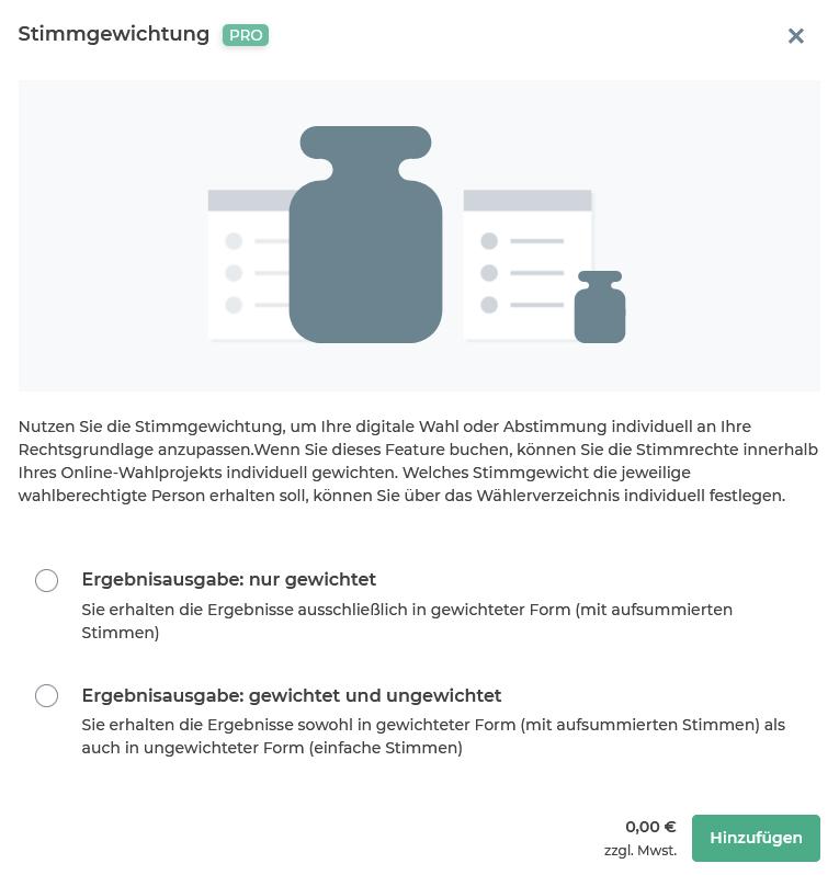 """Kachel des Features """"Stimmgewichtung"""" im Online-Wahlmanager."""