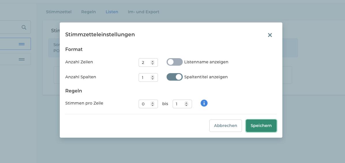 Formateinstellungen für Stimmzettel im Online-Wahlmanager.