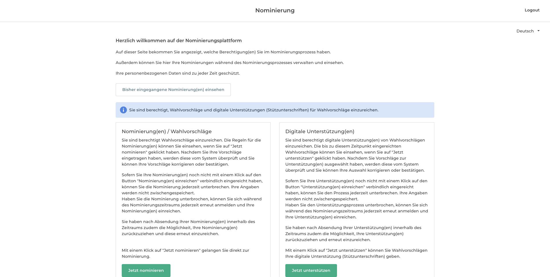 Nominierungs- und Stützrecht auf der Nominierungsplattform.