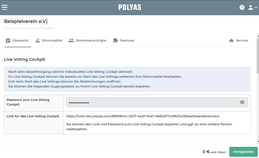 Zugang zum Live Voting Cockpit in der Projekt-Übersicht.