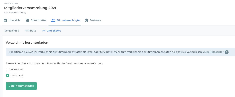 Export des Verzeichnisses der Stimmberechtigten.