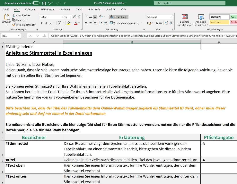Ausschnitt der Excel-Vorlage für Stimmzettel.