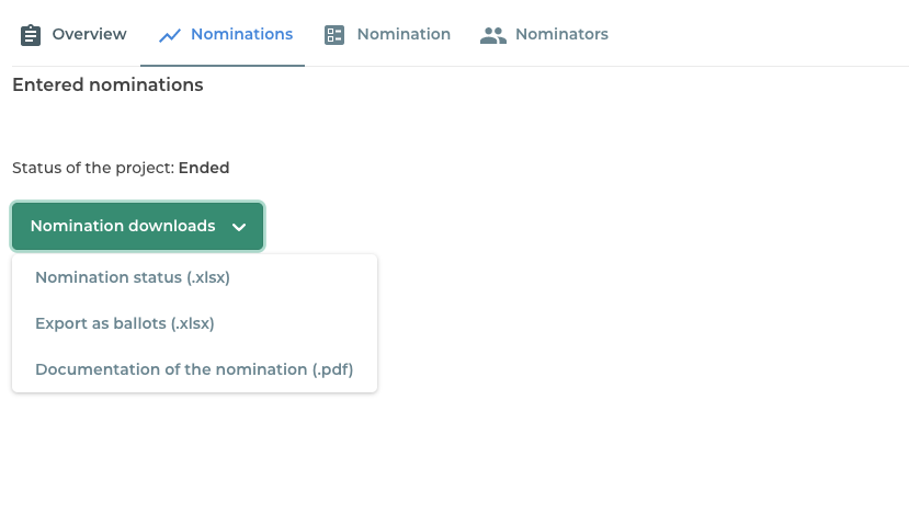 Download of nomination