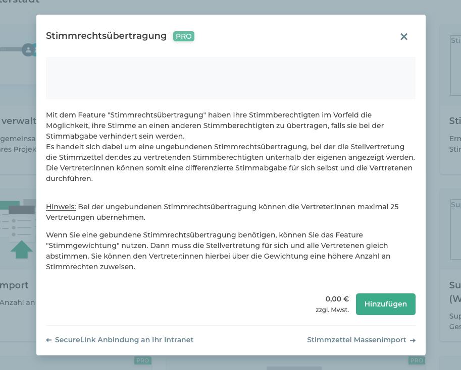 """Kachel des Features """"Stimmrechtsübertragung"""" im Online-Wahlmanager ."""